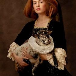 Пазл онлайн: Дама с ягненком