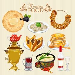 Пазл онлайн: Русские блюда