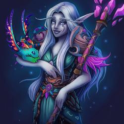 Пазл онлайн: Волшебница и её питомец