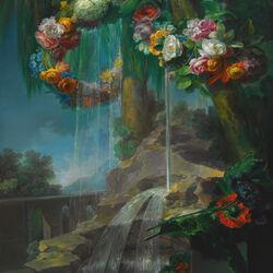 Пазл онлайн: Натюрморт с водопадом