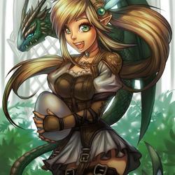 Пазл онлайн: Девушка и дракон