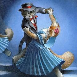 Пазл онлайн: Танцующие кошки