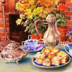 Пазл онлайн: Чайный стол и цветы