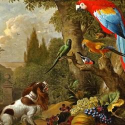 Пазл онлайн: Натюрморт с фруктами, собакой и попугаями в пейзаже