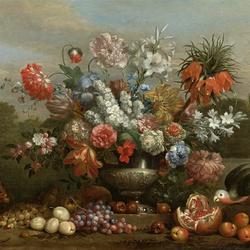 Пазл онлайн: Натюрморт с цветами в серебряной урне