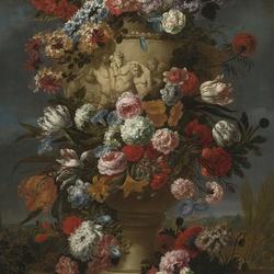 Пазл онлайн: Цветы в вазоне на фоне пейзажа