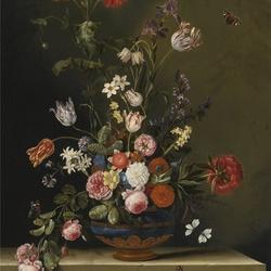 Пазл онлайн: Цветы в синей вазе