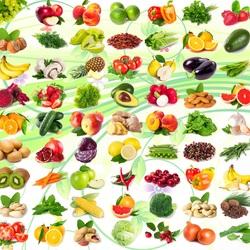 Пазл онлайн: Фрукты-овощи