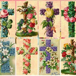 Пазл онлайн: Цветочные крестики