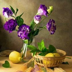 Пазл онлайн: Цветы и лимон