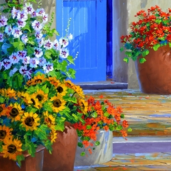 Пазл онлайн: Цветы у двери