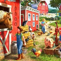 Пазл онлайн: Утром на ферме