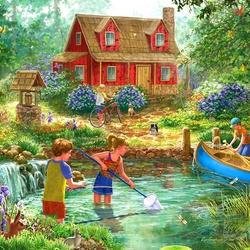 Пазл онлайн: Летом на пруду