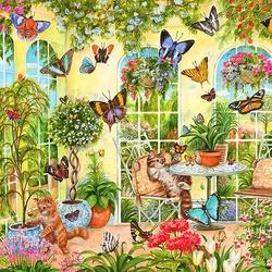 Пазл онлайн: Игра с бабочками