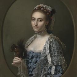 Пазл онлайн: Дама с ручной белкой