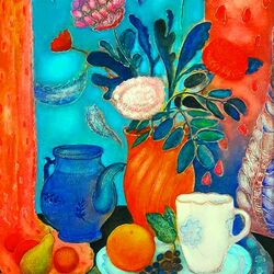 Пазл онлайн: Оранжевая ваза