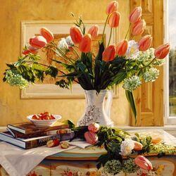 Пазл онлайн: Нежные тюльпаны