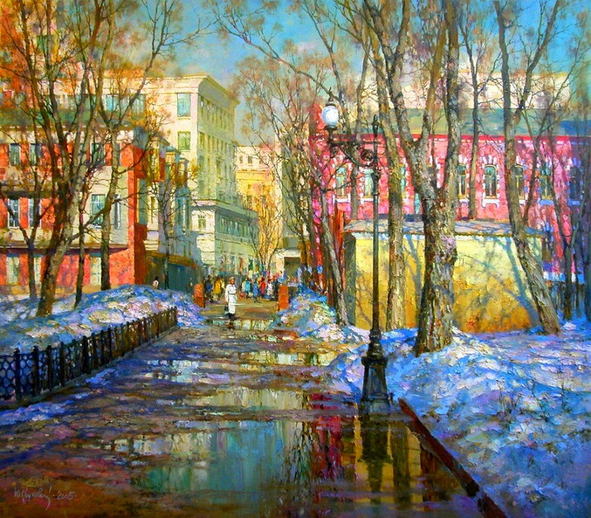 Картины городской пейзаж весной
