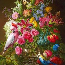 Пазл онлайн: Попугаи и цветы