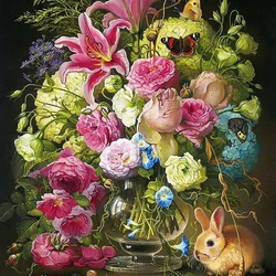 Пазл онлайн: Розы и кролик