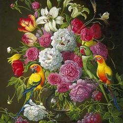 Пазл онлайн: Три попугайчика