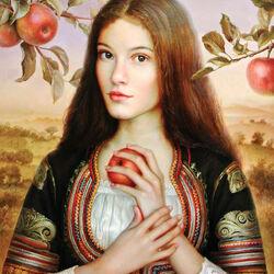 Пазл онлайн: Девушка с яблоками