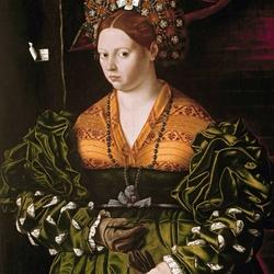 Пазл онлайн: Дама в зеленом платье