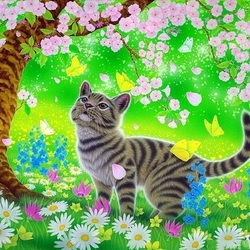 Пазл онлайн: Весенняя кошка