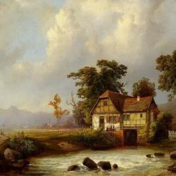 Пазл онлайн: Пейзаж с водяной мельницей