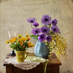 Пазл онлайн: Цветы для мамы