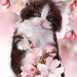 Пазл онлайн: Весенний котёнок