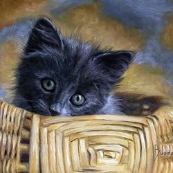 Пазл онлайн: Котенок в лукошке