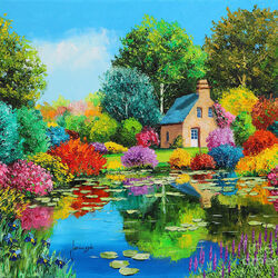 Пазл онлайн: Цветущий пруд