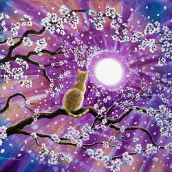 Пазл онлайн: Золотистая кошка в ветвях сакуры