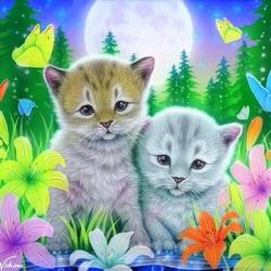 Пазл онлайн: Котята в лилиях