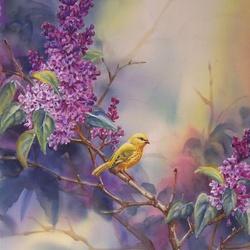 Пазл онлайн: Цветы и птицы. Сирень
