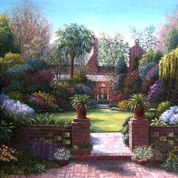Пазл онлайн: Цветы на лужайке