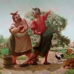 Пазл онлайн: Худая и толстая