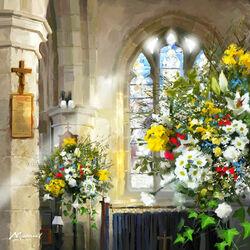 Пазл онлайн: Цветы в церкви
