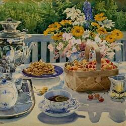Пазл онлайн: Чаепитие в саду
