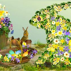 Пазл онлайн: Пасха в саду