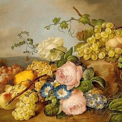 Пазл онлайн: Натюрморт с цветами и фруктами в пейзаже