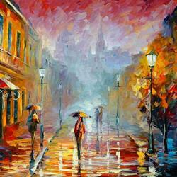 Пазл онлайн: Дождливая улица