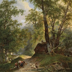 Пазл онлайн: Домик под деревьями