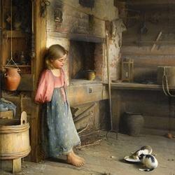Пазл онлайн: Девочка с котятами