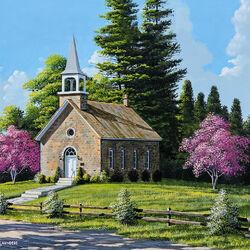 Пазл онлайн: Церковь у дороги