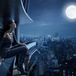 Пазл онлайн: Девушка и луна