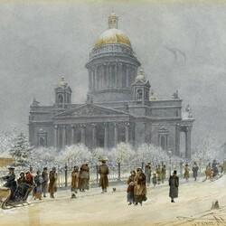 Пазл онлайн: Зимний Исаакиевский Собор