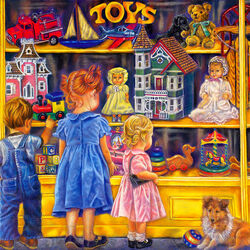 Пазл онлайн: У витрины магазина игрушек