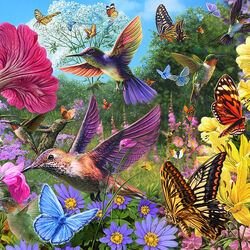 Пазл онлайн: Бабочки и птицы
